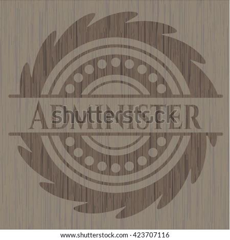 Administer retro style wooden emblem
