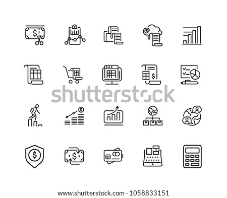 Administration icons. Set of twenty line icons. Report, accounting, credit card. Administration concept. Vector illustration can be used for topics like financial management, analysis, marketing.