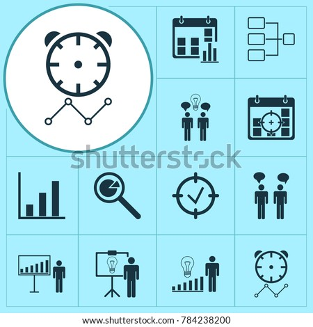 Administration icons set with decision making, solution demonstration, system structure and other project targets elements. Isolated vector illustration administration icons.