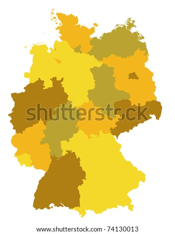 administration map of germany in warm colors