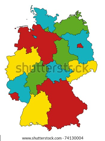 administration map of germany with very happy, childish colors