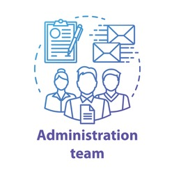 Administration team concept icon. Organization department idea thin line illustration. Office managers team. Company staff. Corporate management personnel. Vector isolated drawing
