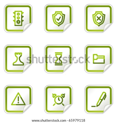 Administration web icons, green stickers series
