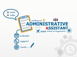 Administrative assistant business concept and notebook. Hand writing Administrative assistant with blue marker.