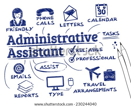administrative assistant - chart with keywords and icons