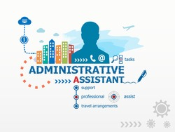Administrative assistant concept and business man. Flat design illustration for business, consulting, finance, management, career.
