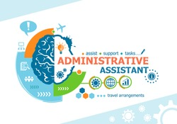 Administrative assistant related words and brain concept. Infographic business. Project for web banner and creative process.