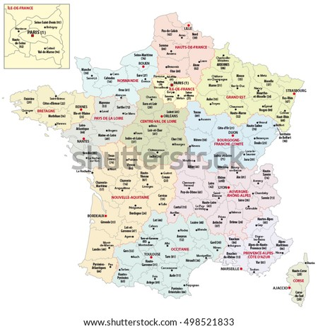 Map Of France With Regions.Colorful France Maps With Regoins Download Free Vector Art Stock