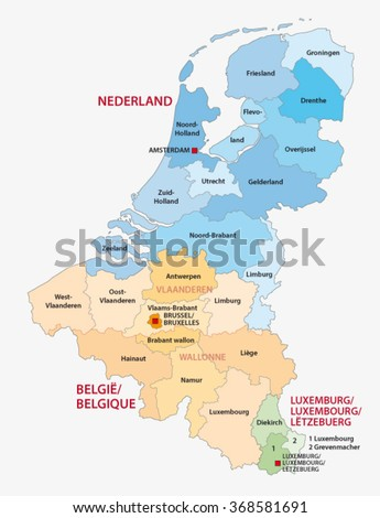administrative map of the three Benelux countries, Netherlands, Belgium, Luxembourg
