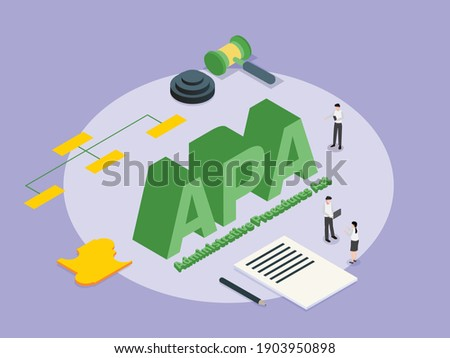 Administrative Procedures Act APA 3D isometric vector concept for banner, website, illustration, landing page, flyer, etc Stok fotoğraf ©