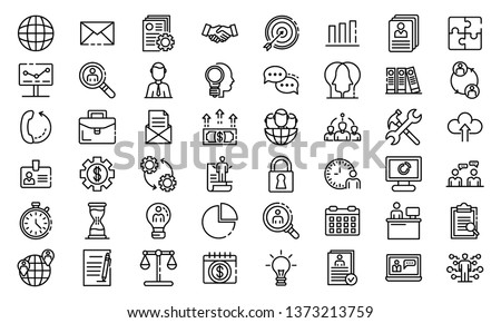 Administrator icons set. Outline set of administrator vector icons for web design isolated on white background Stock photo ©