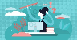 Administrator vector illustration. Flat tiny paperwork occupation person concept. Office employee and clerk worker. Professional secretary and desk assistant job. Accountant everyday stress management