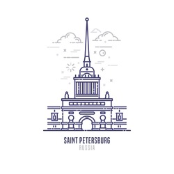 Admiralty building - famous landmark of Saint-Petersburg, Russia. Former headquarters of the Admiralty Board and the Imperial Russian Navy. City sight vector icon in simple thin line art style