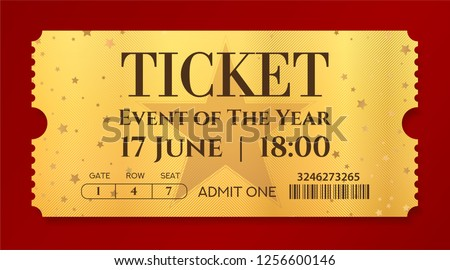Admission golden ticket template. Vector mockup movie ticket (tear-off) with star gold background. Useful for any festival, party, concert, cinema, birthday event, entertainment show