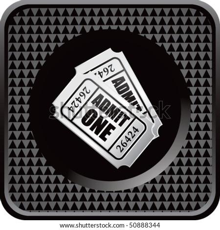 admission ticket black checkered web icon - stock vector