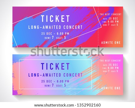 Admission ticket template. Vector mockup concert ticket (tear-off) with colorful art paint brush. Modern bright rainbow gradient background. Useful for party, movie, cinema or entertainment show pass