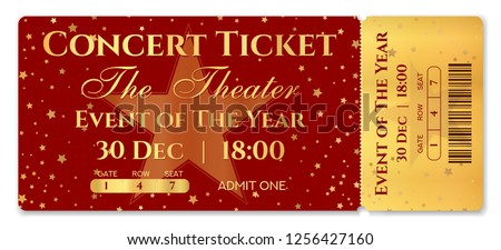 admission ticket template vector mockup concert ticket tear off with star magical
