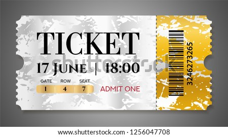 admission ticket template vector mockup movie ticket tear off with golden grunge