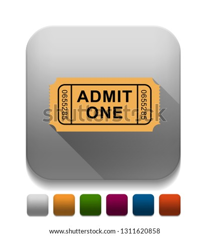 Admission Ticket With long shadow over app button