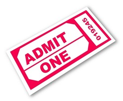 admission ticket with the words - admit one - vector