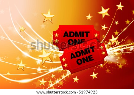 Admission Tickets on Abstract Modern Light Background Original Illustration