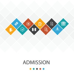 Admission  trendy UI template infographics concept. Ticket, accepted, Open Enrollment, Application icons