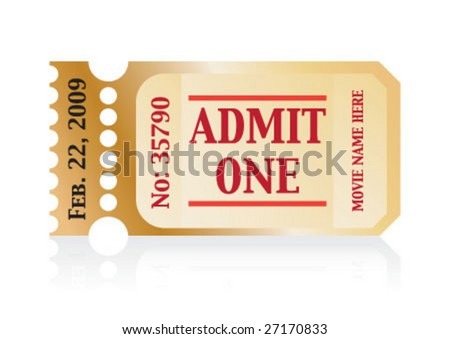 Admit one movie ticket with date and serial number