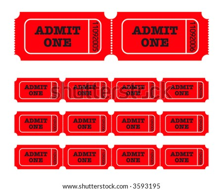 Admit one tickets. Easy to edit colors and numbers. Vector Illustration