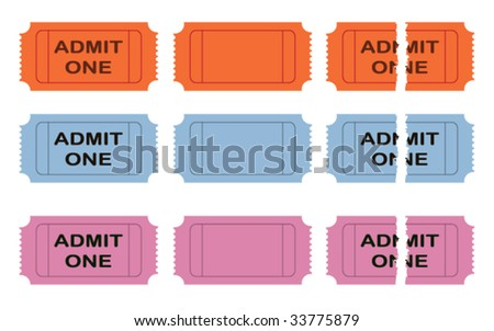 Admit one vector cinema ticket - stock vector