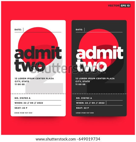Admit Two Entrance Ticket Template For Live Music Dance Party Event