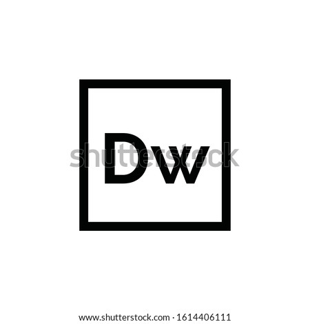 Adobe Dreamweaver icon vector. Linear style sign for mobile concept and web design. Dw symbol illustration. Pixel vector graphics - Vector.