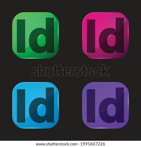 Adobe Indesign four color glass button icon