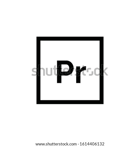 Adobe Premiere Pro icon vector. Linear style sign for mobile concept and web design. Pr symbol illustration. Pixel vector graphics - Vector.