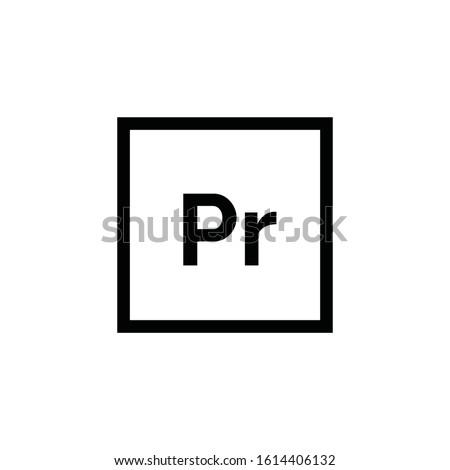 Adobe Premiere Pro icon vector. Pr symbol. Linear style sign for mobile concept and web design. Adobe Premiere Pro symbol illustration. Pixel vector graphics - Vector.