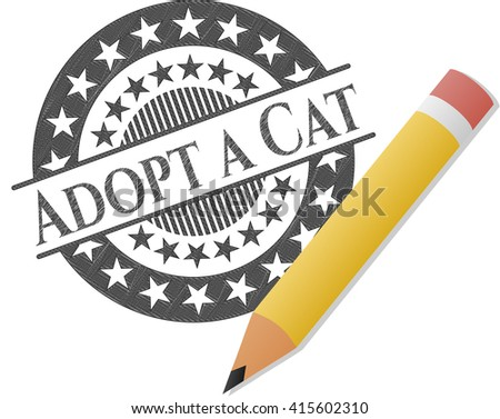 Adopt a Cat drawn with pencil strokes