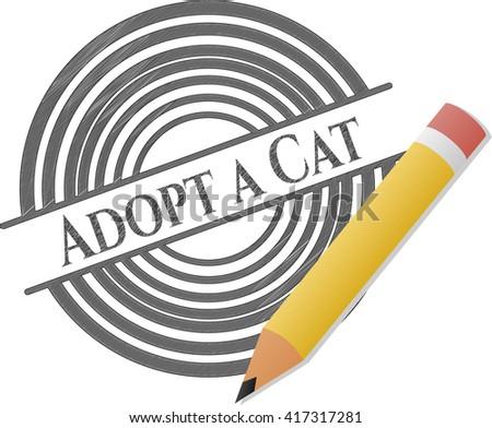 Adopt a Cat emblem drawn in pencil