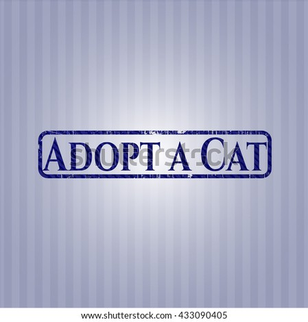 Adopt a Cat emblem with denim high quality background