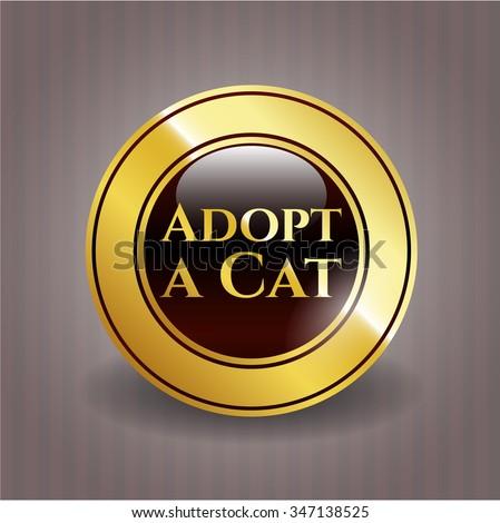 Adopt a Cat gold emblem or badge