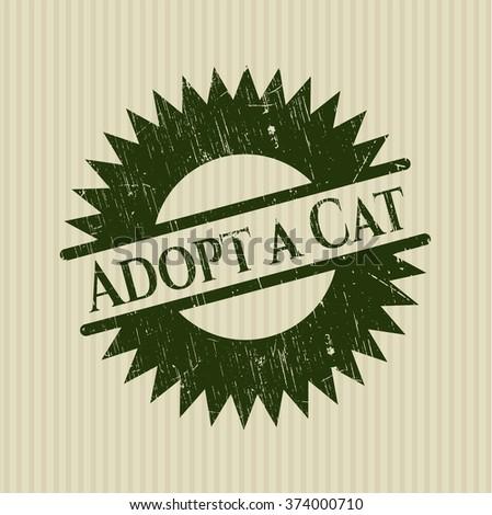 Adopt a Cat grunge style stamp