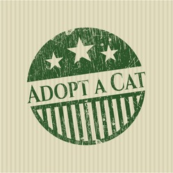 Adopt a Cat rubber stamp with grunge texture