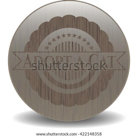 Adopt a Cat vintage wooden emblem
