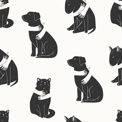 Adopt a Friend. Do not buy a Pet. Human hands are hugging Dogs and Cat. Animal care, adoption concept. Help the homeless animals find a home. Hand drawn Vector seamless pattern. Wallpaper