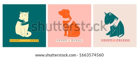 Adopt a Friend. Do not buy a pet. Human hands are hugging Dogs and Cat. Animal care, adoption concept. Help the homeless animals find a home. Set of three Hand drawn Vector illustrations Foto stock ©
