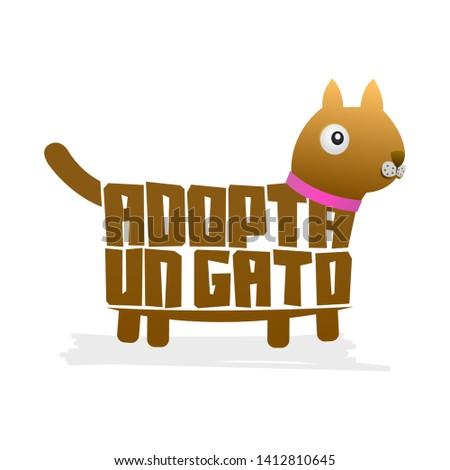 Adopta un Gato, Adopt a Cat spanish text Vector cat shape vector, pet adoption.