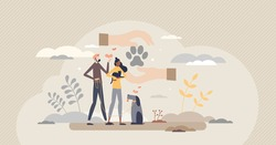 Adopting pet as giving homeless dog or cat shelter home tiny person concept. Animal protection and loving by family or couple vector illustration. Take care about lost kittens or puppy. Paw in hands.