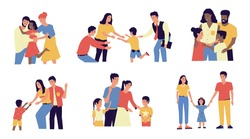 Adoption. Cartoon young couple adopt happy international kids. Cute scenes of cheerful foster parents. Caring for orphan. Mother and father hugging children. Vector multiracial families illustration