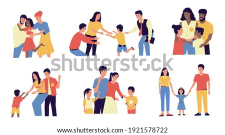 Adoption. Cartoon young couple adopt happy international kids. Cute scenes of cheerful foster parents. Caring for orphan. Mother and father hugging children. Vector multiracial families illustration Foto stock ©