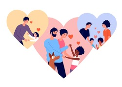 Adoption concept. Pet and child adopted, relationship adult and children. Love or charity, cartoon parenthood society utter vector illustration