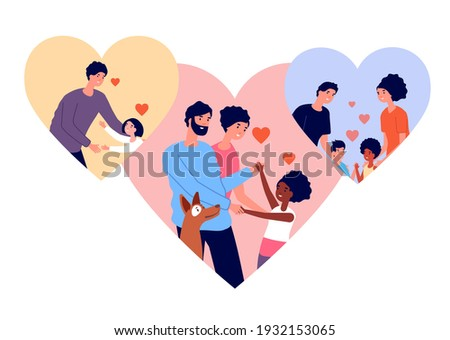 Adoption concept. Pet and child adopted, relationship adult and children. Love or charity, cartoon parenthood society utter vector illustration Foto stock ©
