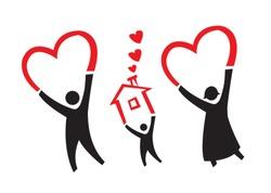 Adoption or parenthood concept vector. Editable Clip Art.